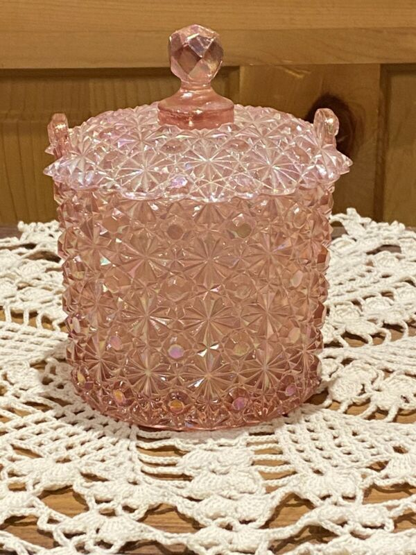 Fenton Pink Daisy & Button Glass Covered Candy Jar Ice Bucket