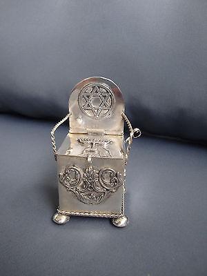 Antike Judaica Besamimdose Stuhl mit Löffel russisch 84 Silber 1878