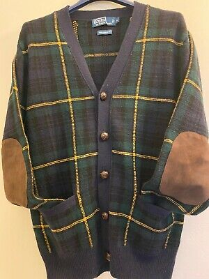 RARE VTG Polo Ralph Lauren Tartan Sweater/Cardigan Navy w/ suede elbow patches S