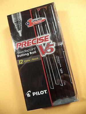 12 Pilot Precise V5 Needlepoint Rolling Ball Black X Fine 35380 35334