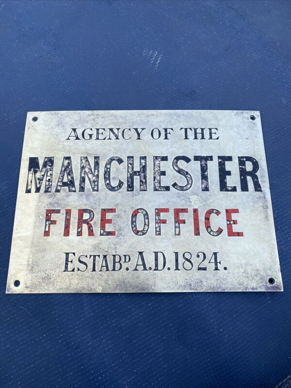 Agency For Manchester Fire Office Brass Bronze Sign Plaque