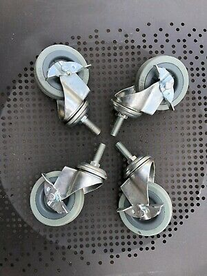 Set Of 4 Swivel 3 Casters 12 Threaded Stem 75x21 All With Brakes. Open Box