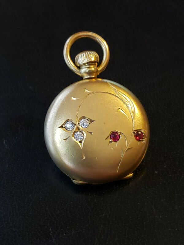 Antique Pocket Watch Shaped Gold Filled Locket w/ Carved Flower Red Clear Stones