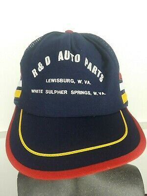Vtg R & D Auto Parts WV Trucker Hat SnapBack USA Made Mesh 3 Stripes  for sale  Shipping to India
