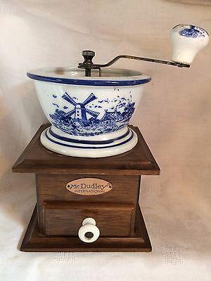 Vintage Mr. Dudley International wood & Delft Porcelain Coffee Grinder Windmill