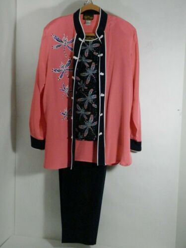 Bob Mackie Silk Dragonfly Outfit 3 pc. Womens sz L&M Mandarin Coral and Black