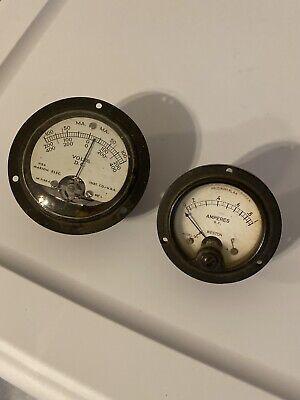Lot Of 2 Vintage Weston 507 Antenna Current Panel Meter Gauge Marion Steampunk