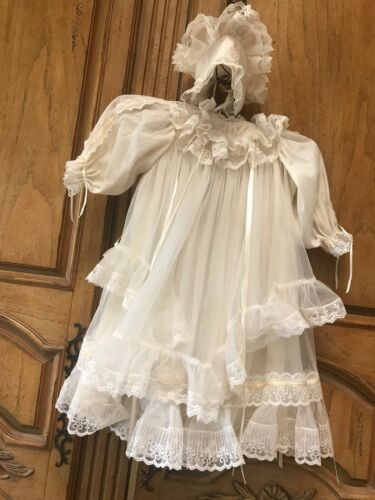 Vintage Child Christening Gown 3 Layer Shear with Ruffles, Bonnet & Shoes