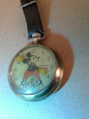"DISNEY 1930's long stem ""MICKEY MOUSE POCKET WATCH""BY INGERSOLL AND FOB RUNNING"