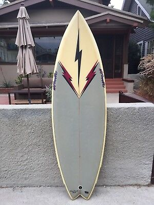 vintage lightning bolt surfboard rory russell Model twin fin 1980s 5ft7 1/2