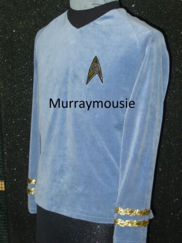 CUSTOM-MADE Blue Five Star TREK CLOTHES Uniform Shirt Costume ANYSIZE Mens