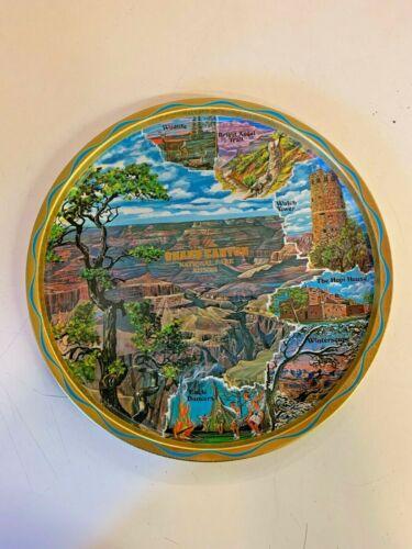 Vintage Grand Canyon National Park Arizona Souvenir Round Tin Tray Travel Trip