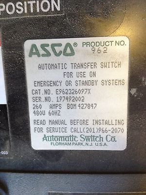 962 Asco Transfer Switch 260a 480v E962326097x