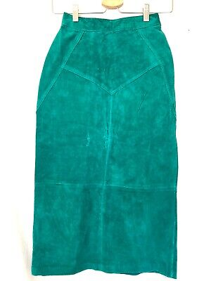 """Vintage Long Suede Leather Straight Skirt Size 0, 00, XS 23"""" Waist Green Western"""