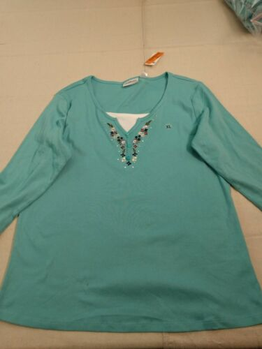 IB Diffusion - 3/4 Sleeve Embroidered Shirt - Women - XL - Light Teal