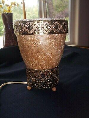 Vintage MCM Torchiere Table Lamp~Fiberglass Shade~Gold Filigree~Eames Era~RARE