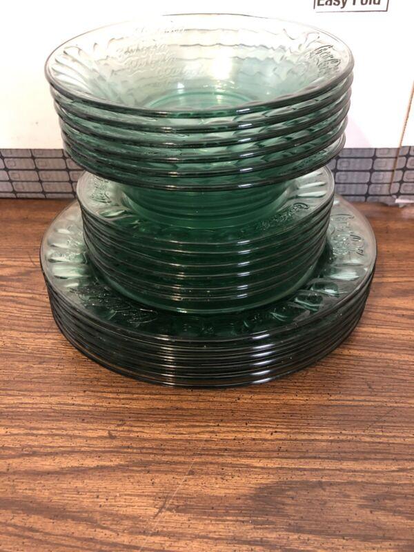 Coca Cola Salad Dessert Plates Bowls Dinner Plates Clear Green Glass
