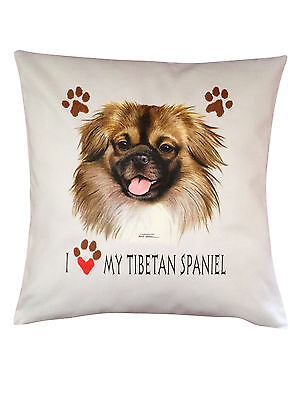 Tibetan Spaniel Heart Breed of Dog Cotton Cushion Cover - Perfect Gift