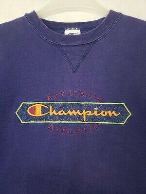 Vtg Champion Spellout Crewneck Sweatshirt Blue Faded 90s 2000s (N)