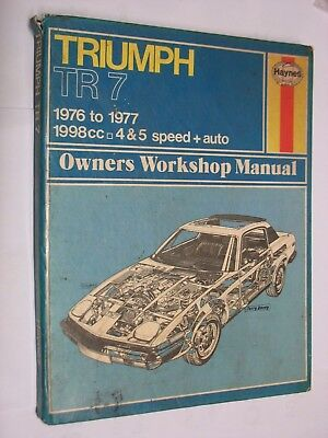 Triumph TR 7 1976-7 1998cc 4 & 5 speed HAYNES MANUAL No. 322. job lot HARDBACK