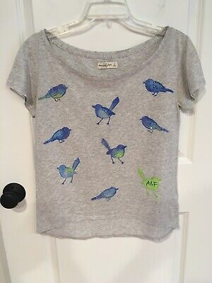 ABERCROMBIE & FITCH Tee T-shirt Hi-Low Gray w/Birds Sequins ~ Sz Sm ~ MINT