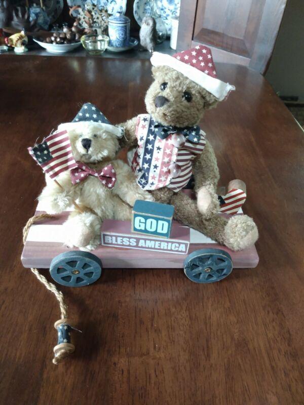 Vintage Rustic Patriotic Bears/Wagon 4th Of July Decor