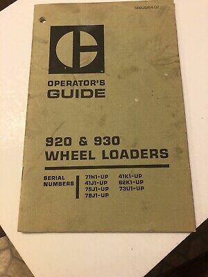 Cat Caterpillar 920 930 Wheel Loader Operation Owner Operator Manual Front End