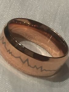 Laser Etched Heartbeat Ring in Rose Gold Plating