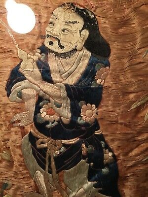 2 ANTIQUE QI'ING 19th c CHINESE EMBROIDERED SILK PANELS W. IMMORTALS EMBROIDERY!