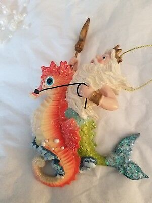 King Neptue Riding Seahorse Christmas Tree Ornament Tropical Design Style -