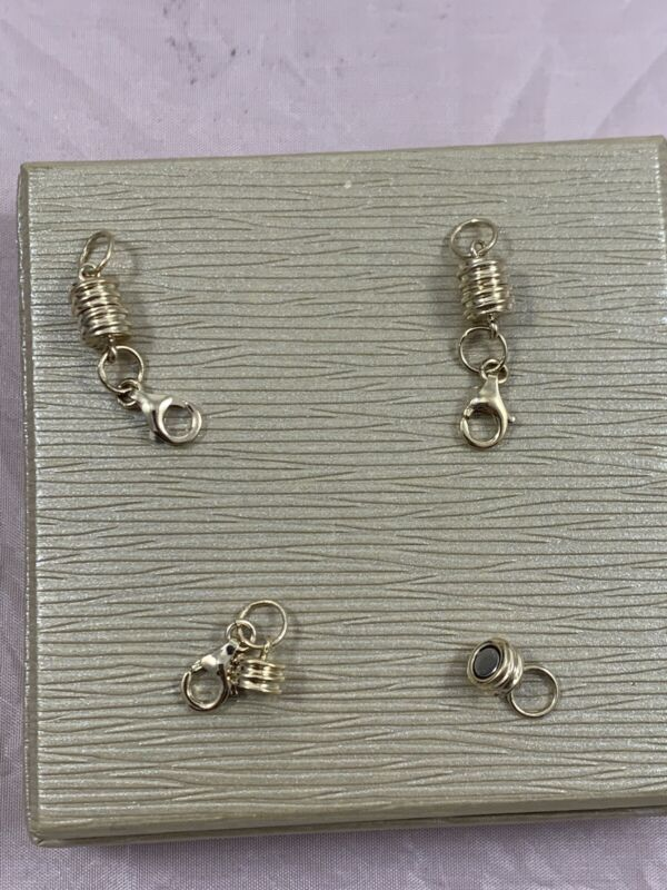 4mm Round Magnetic 18k Over Silver Clasp With Lobster Clasp Extension Pieces (3)