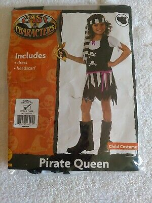 Girl Pirate Costumes For Halloween (GIRLS YOUTH PIRATE QUEEN HALLOWEEN COSTUME SIZE SMALL 4-6 FOR 3-4 YEARS OLD)
