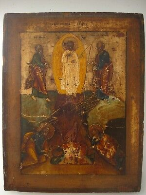 Antique Near 1850 Russian Orthodox Hand Painted On Wood Icon Transfiguration