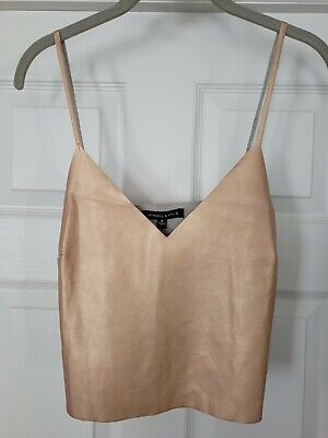Kendall & Kylie Women's Faux Leather Tank Top Rose Gold Size Small