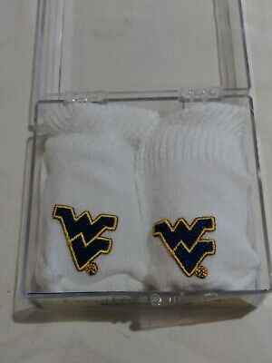 WVU West Virginia Mountaineers Newborn Baby Booties Brand New In Original Case