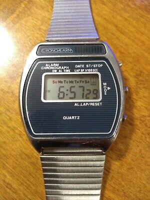 Vtg 1970's Chronoalarm Alarm chronograph men's watch, running new/Battery H