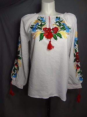 Ukrainian embroidered Long sleeve Linen Blouse vyshyvanka Hand made sizes L