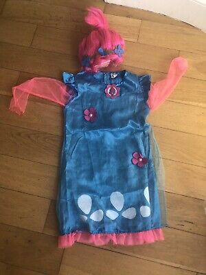 Poppy Costume Dress And Wig Trolls Age 6-10