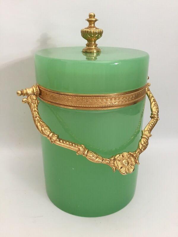 Green French Opaline Art Glass Covered Jar Box Cachepot