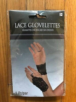 Adult Ladies Gothic Vampiress Lace Up Glovelettes Fingerless Gloves Halloween