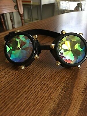 Rainbow Bolted Steampunk Goggles Kaleidoscope Lenses Cyber Adjustable Strap
