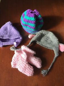 Baby winter hats and booties
