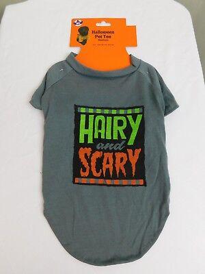 Hairy and Scary Halloween Dog Costume T-Shirt Grey Medium #7432 - Scary Dog Costumes