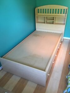Twin 3 Drawer Captain's Bed with Headboard Shelving