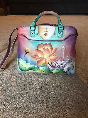Anuschka Purse Satchel Handbag Hand-painted Leather Crossbody Lotus Flower