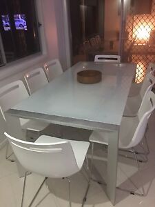 Nick Scali Frosted Glass Dining table and chairs Carseldine Brisbane North East Preview