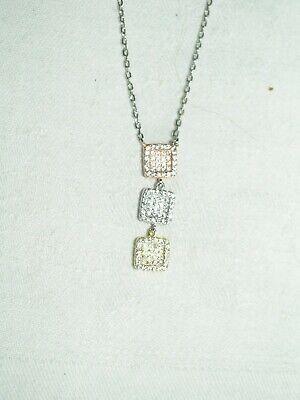 Très beau collier argent 3 tons 925/1000 et zircons