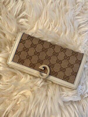 Authentic Gucci Vintage Supreme GG Logo Canvas White Leather Long Wallet Gucci White Wallet
