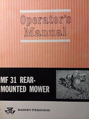 Massey Ferguson Mf 31 Rear Mounted 3-point Tractor Sickle Mower Operators Manual