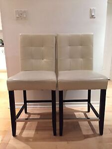 Off-white leather counter stools (price for pair)